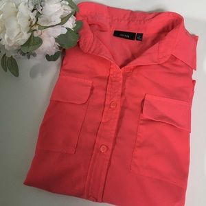 APT 9 pink button down with high low hem M